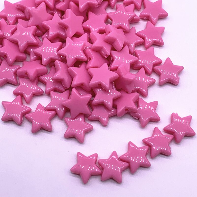50pcs14mm Colourful Faceted Five-pointed Star Acrylic Loose Spacer Beads for Jewelry Making DIY Accessories