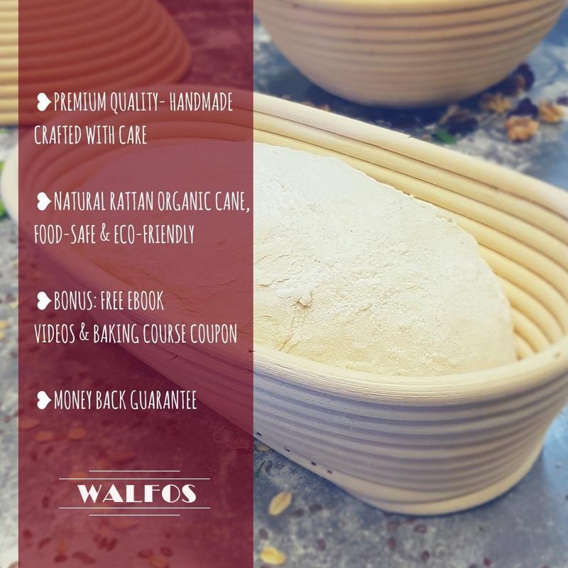 WALFOS Natural Rattan Fermentation Wicker Basket Country Baguette French Bread Mass Proofing Baskets Dough Banneton Baskets