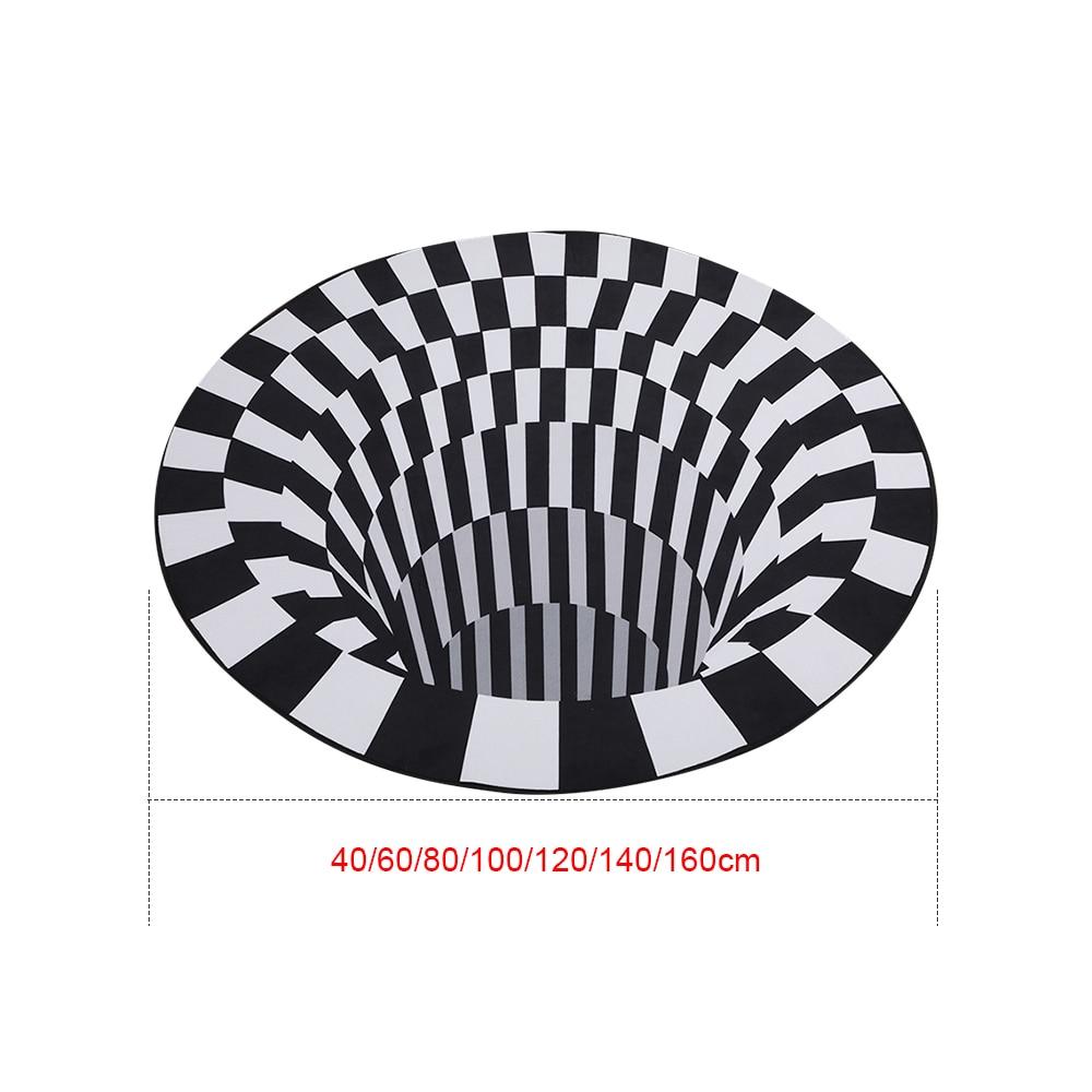 3D Vortex Visual Illusion Rug Printed 3d Mat Optical Illusion Area Rugs Carpet Floor Pad Non-slip Doormat Blanket For Home Decor