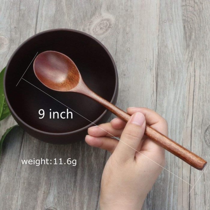 Set of Wooden Spoons for Eating (6 Pcs)
