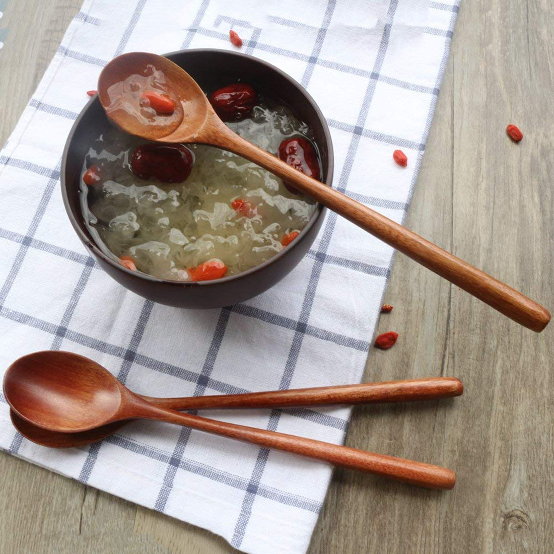 Wooden Spoon, 6 Pieces Wood Soup Spoons for Eating Mixing Stirring Cooking, Long Handle Spoon with Japanese Style Kitchen Utensi