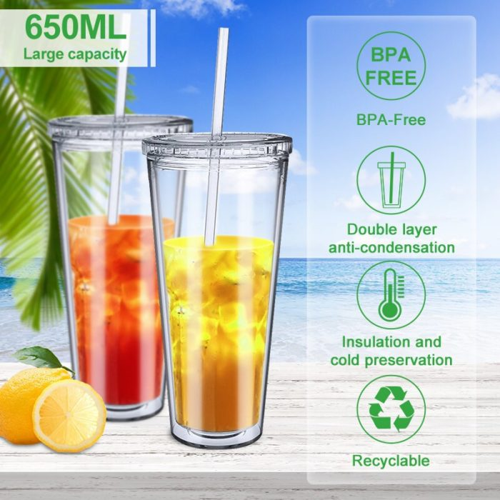 Reusable Clear Tumbler with Straw