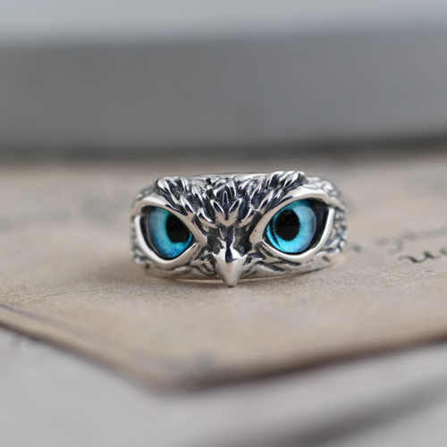 Blue Eye Silver Owl Ring