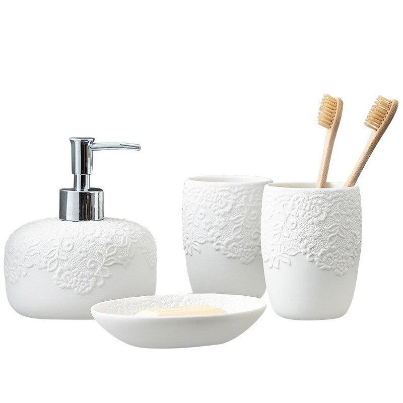 סט אביזרי אמבטיה קרמיקה נורדית סט ארבעה חלקים כוס שטיפת פה זוג בקבוק קרם מוצרי אמבטיה צלחת סבון