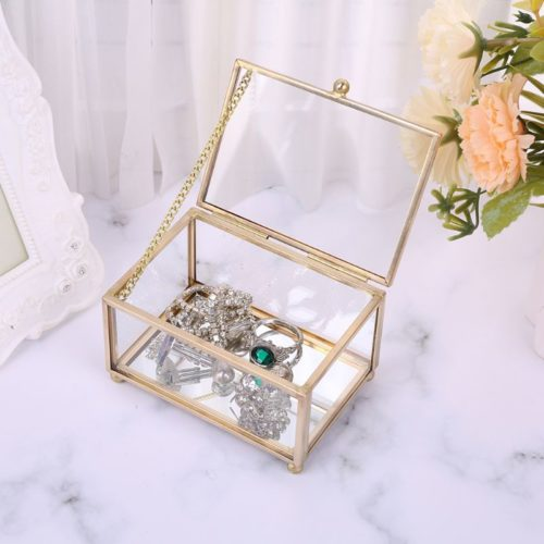 Geometric Vintage Glass Jewelry Box
