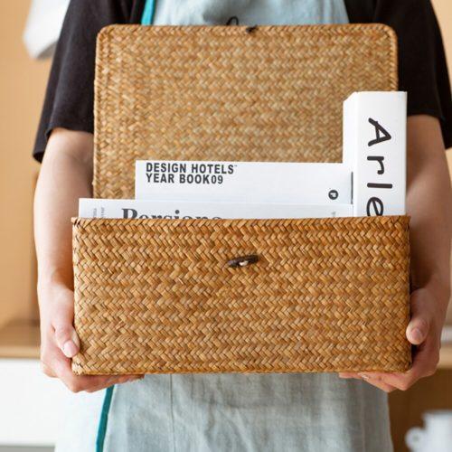 Rectangular Wicker Basket Storage Box