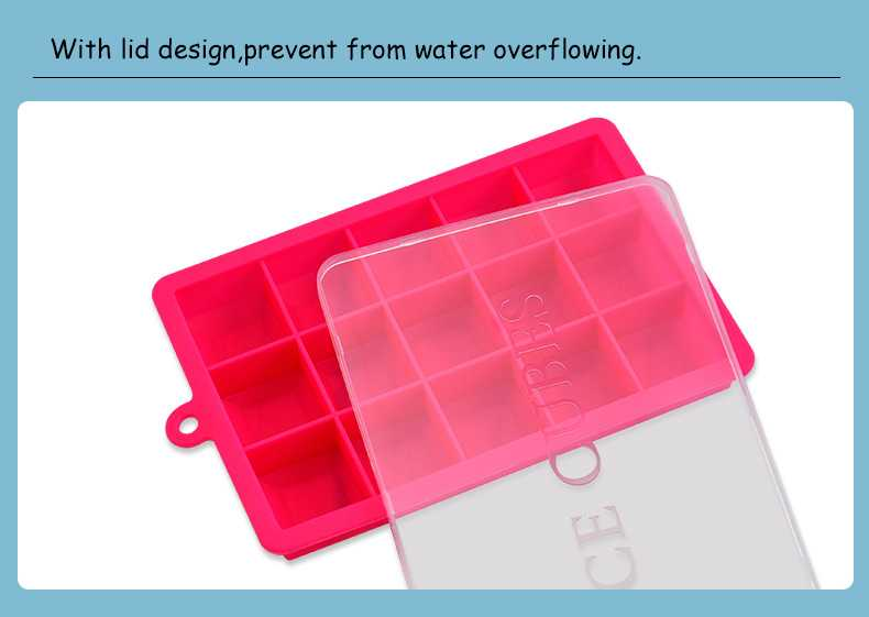 Silicone Ice Cube Maker Trays with Lids for Freezer Icecream Cold Drinks Whiskey Cocktails Kitchen Tools Accessories Ice Mold