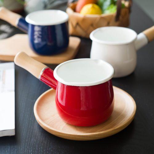 Enamel Milk Pot with Wooden Handle