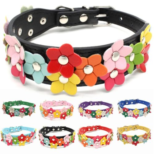 Colorful PU Leather Flower Dog Collar