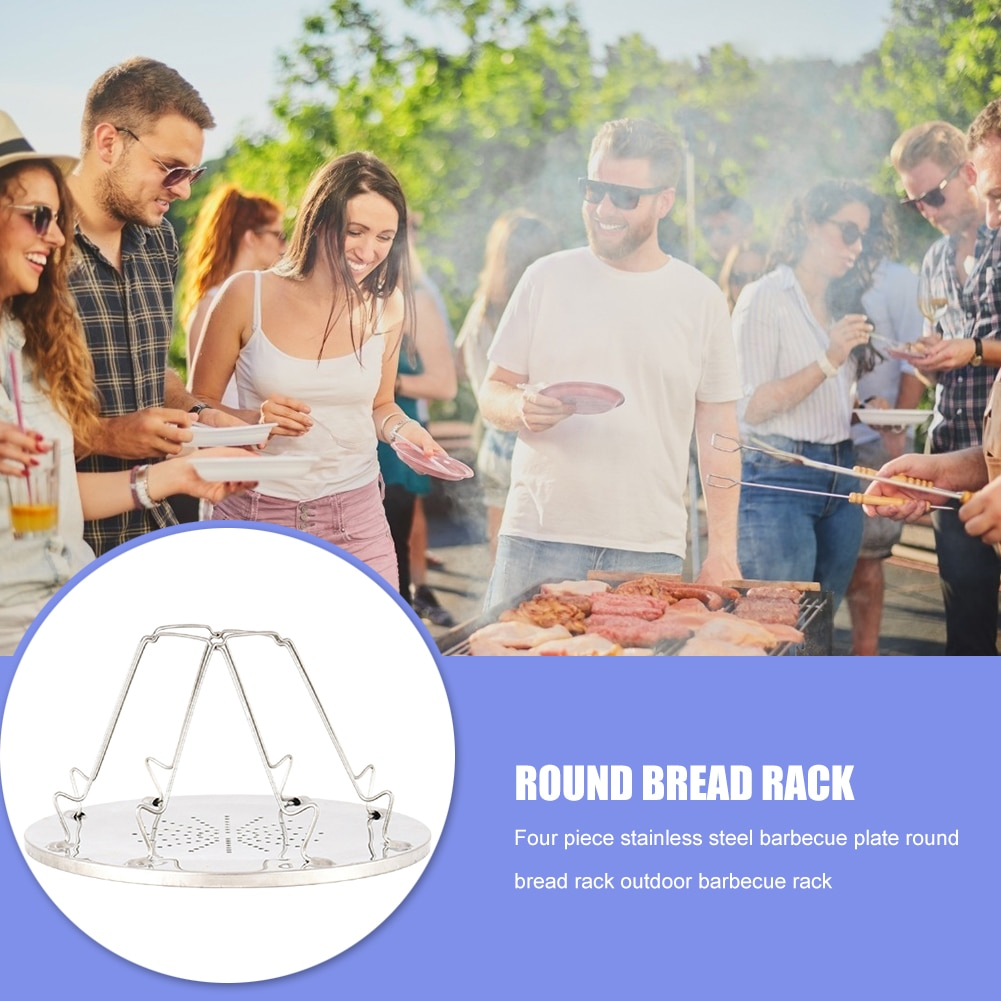 Portable 4 Slice Outdoor Camping BBQ Toaster Tray Foldable Stainless Steel Bread Toast Rack Stove Grill Plate