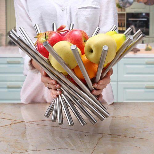 Stainless Steel Fruit Basket Foldable Holder