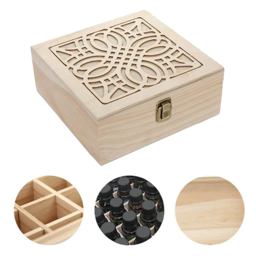 25-Slot Wooden Box for Essential Oils
