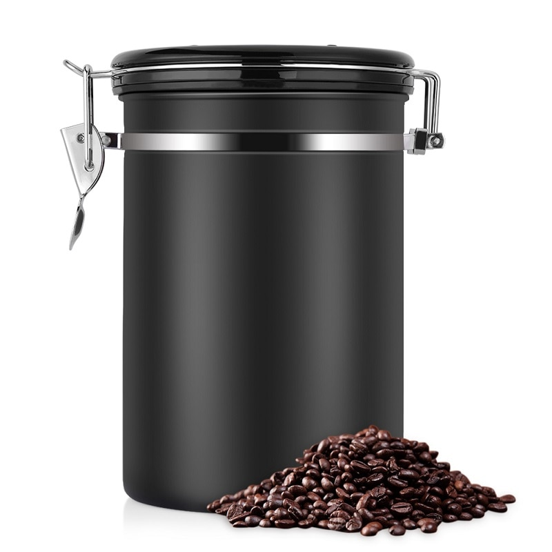 Coffee Container Large Airtight Stainless Steel Coffee Tea Sortage Canister Black Kitchen Sotrage Cans Canister for Coffee Tea