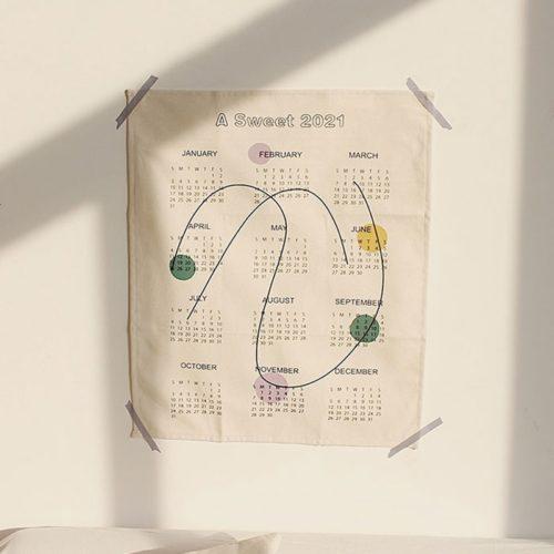 Cloth Calendar 2021 Wall Tapestry