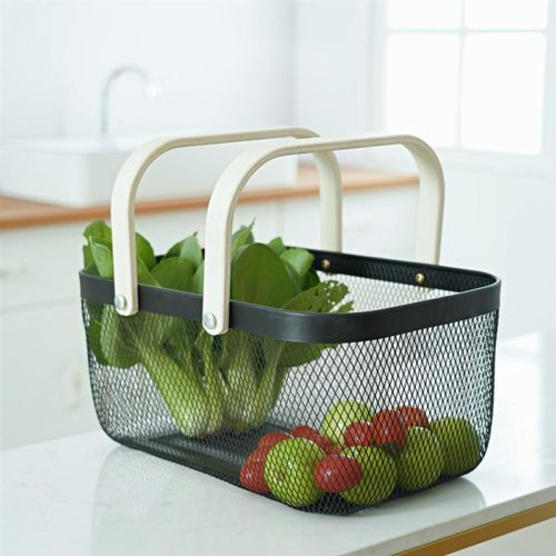 Iron Wire Basket with Wooden Handle