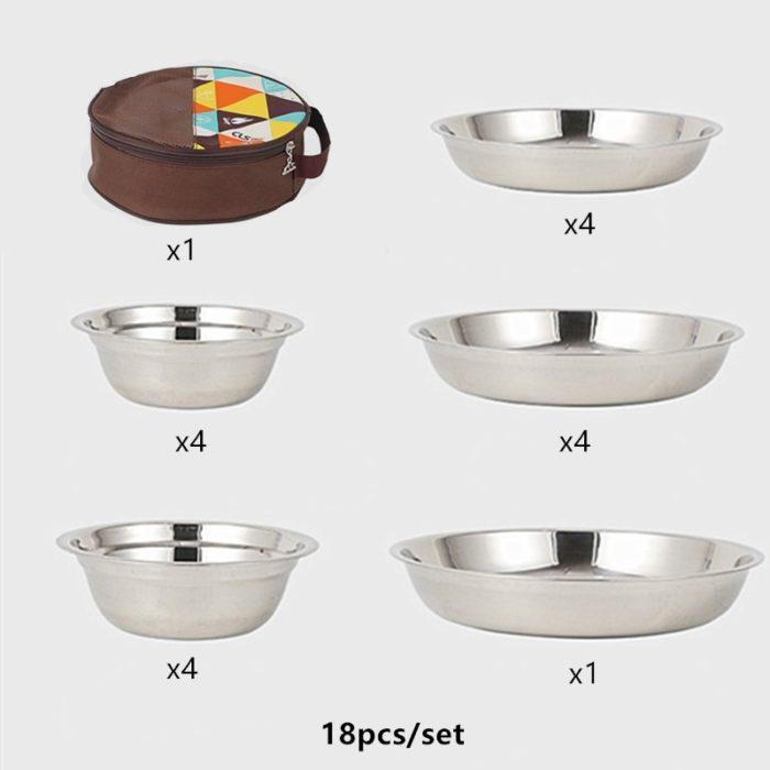 Stainless Picnic Plates Set (18 Pcs)