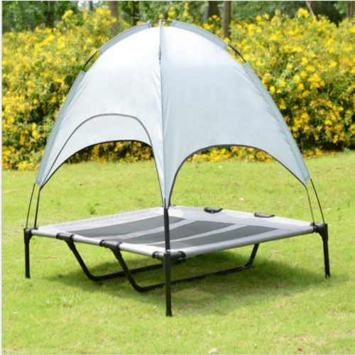 Portable Elevated Dog Bed with Canopy