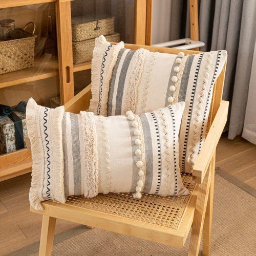 Cotton Boho Throw Pillow Covers