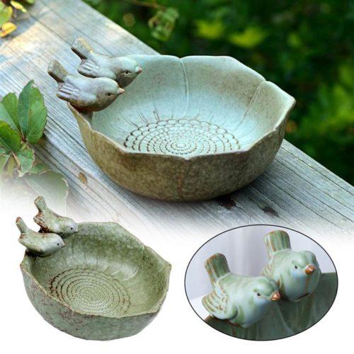 Vintage Style Ceramic Bird Bath Bowl