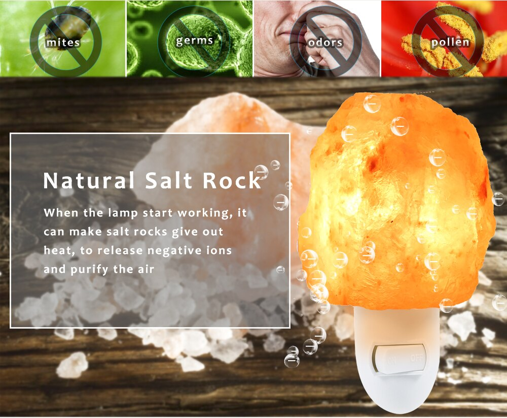 Hot Sale Natural Shaped Salt Rock Night Light Hand Carved Crystal Wall Lamp