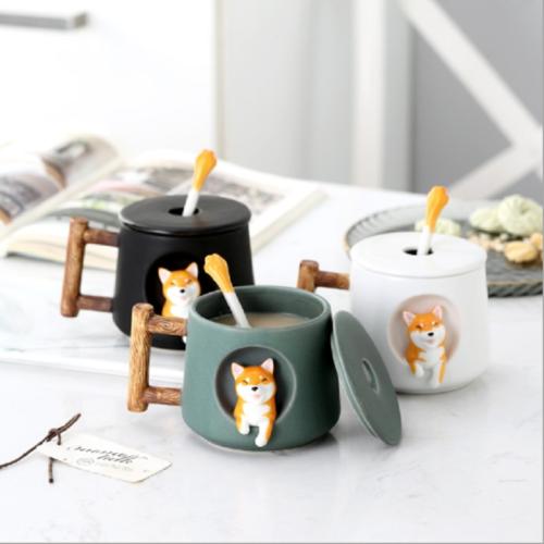 Shiba Inu Mug with Spoon and Lid
