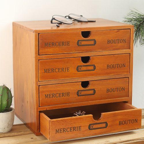 Vintage Wooden Desktop Storage Drawers
