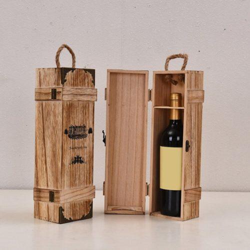 Single Bottle Wood Wine Box