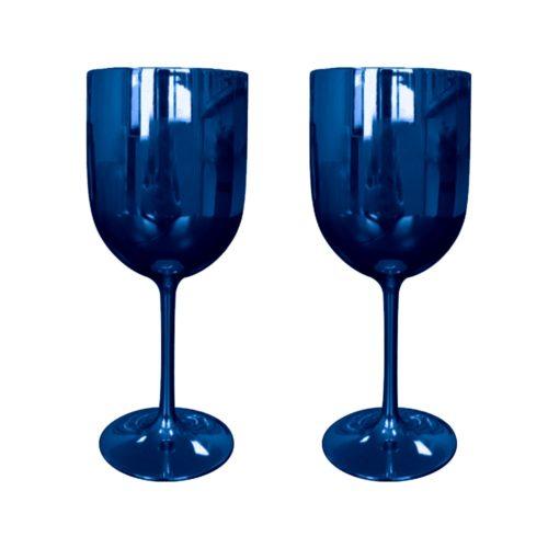 Plastic Metallic Wine Glasses (2 pcs)
