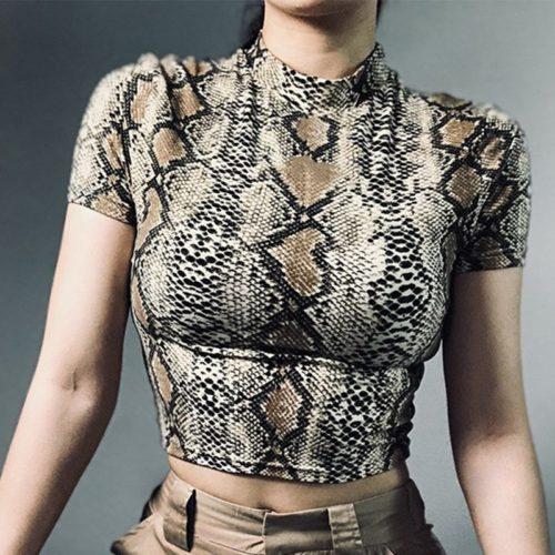 Women's Sexy Snake Print Crop Top
