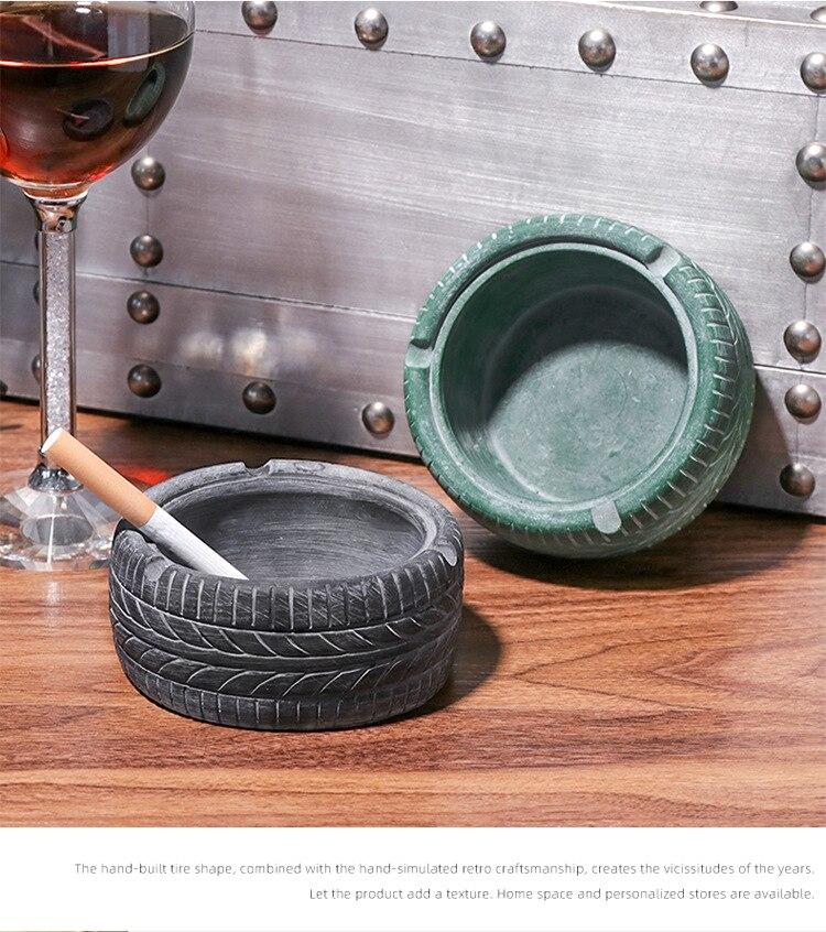 Retro Distressed Tire Resin Ashtray Creative Home Living Room Bar Desktop Decoration Portable Ashtray