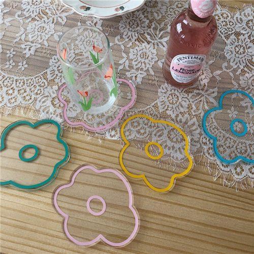 Transparent Acrylic Flower Coaster