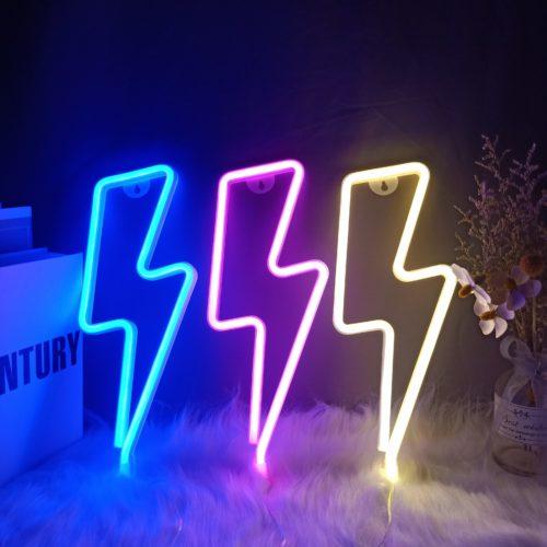 Lightning Bolt Neon Sign Wall Night Light