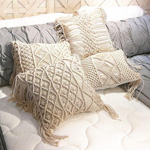 Hand-Knit Macrame Pillow Cover