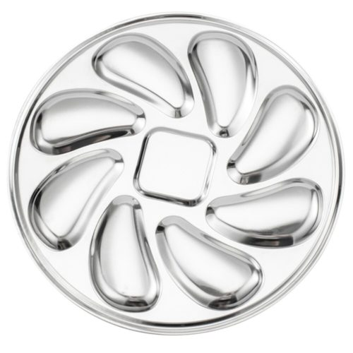 Stainless 8-Slot Oyster Serving Plate