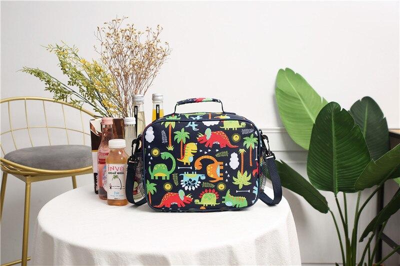 Adult Kids Insulated Lunch Bag Tote Dinosaur Print Thermal Cooler Picnic Travel Food Box Handbag