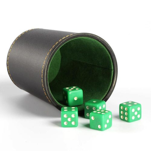 Leather Dice Cup with 5 Six-Sided Dice