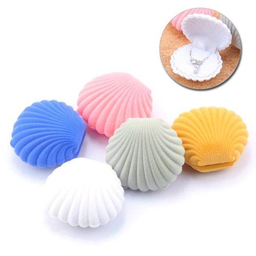 Velvet Earrings Holder Shell Jewelry Box