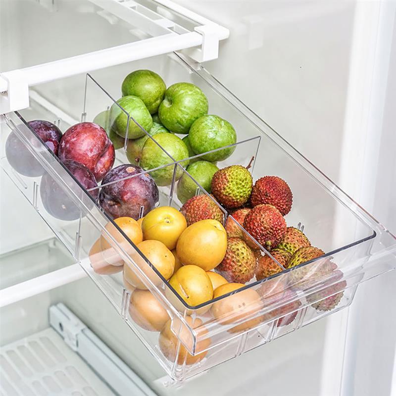 Kitchen Refrigerator Transparent Organizer Bin Storage Box Compartment Refrigerator Drawer Fridge Storage Bin Containers