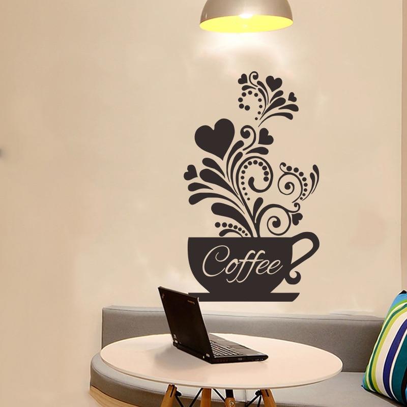 Creative Flower Vine Wall Coffee Cup Sticker For Cafe Restaurant Decoration Decals Kitchen Hand Carved Stickers