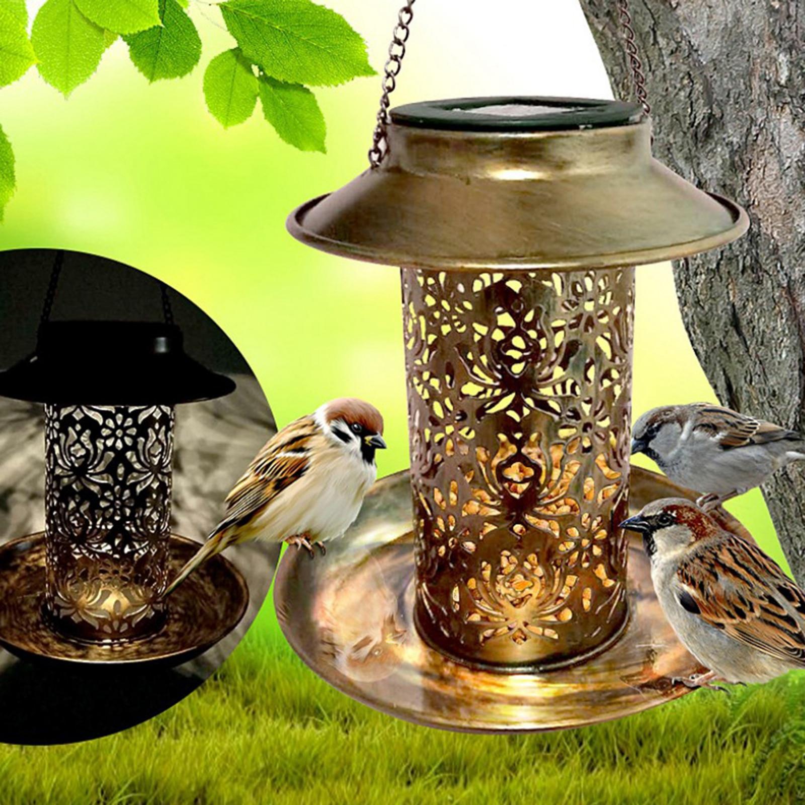 Solar Bird Hanging Feeder Outside Hanging Food Feeder Outdoor Solar Powered