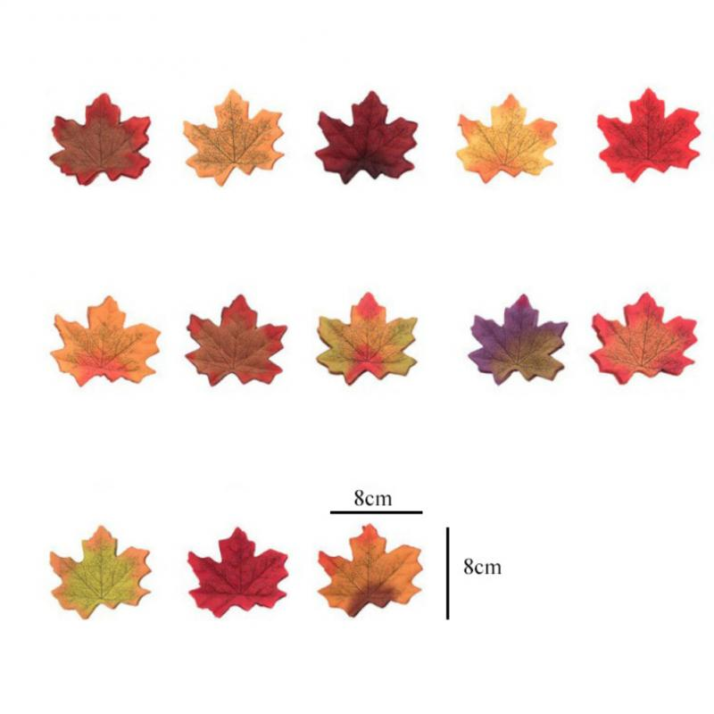 50Pcs/set Maple Leaves Artificial Simulation Leaves Halloween Autumn Leaves Christmas Wedding Table Decorations Thanksgiving Day