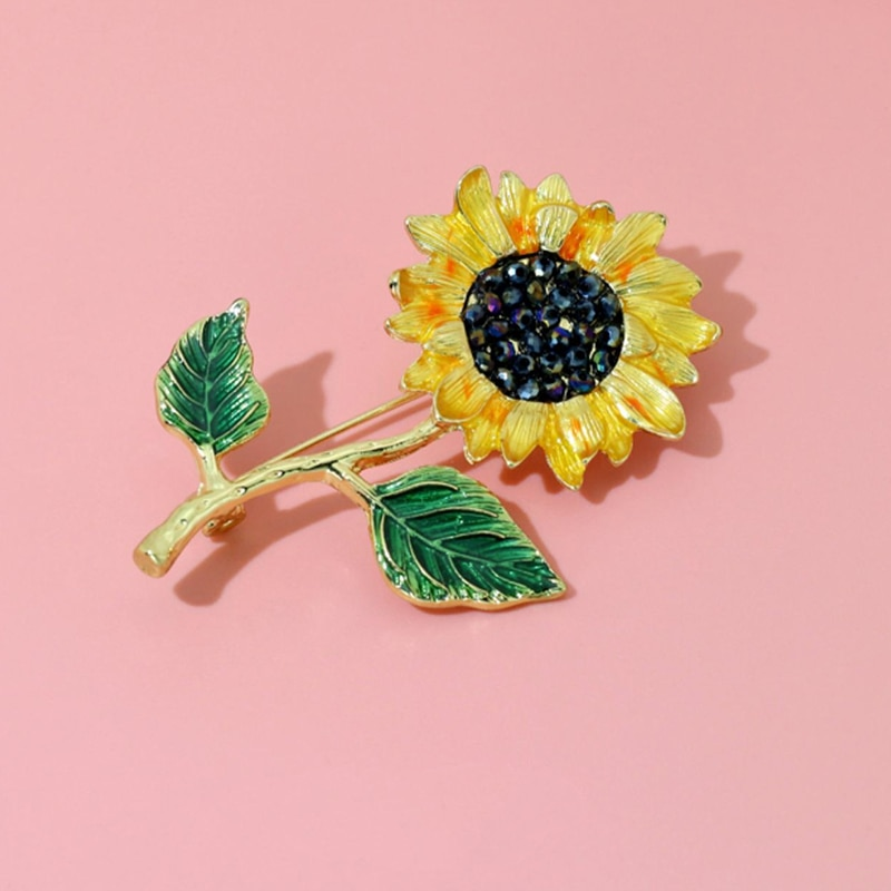 Wuli&baby Enamel Sunflower 2 Leaf Brooch Pins For Women Fashion Jewelry 2021New Plant Brooches Gift