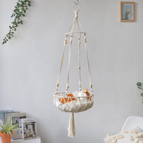 Hanging Macrame Cat Hammock