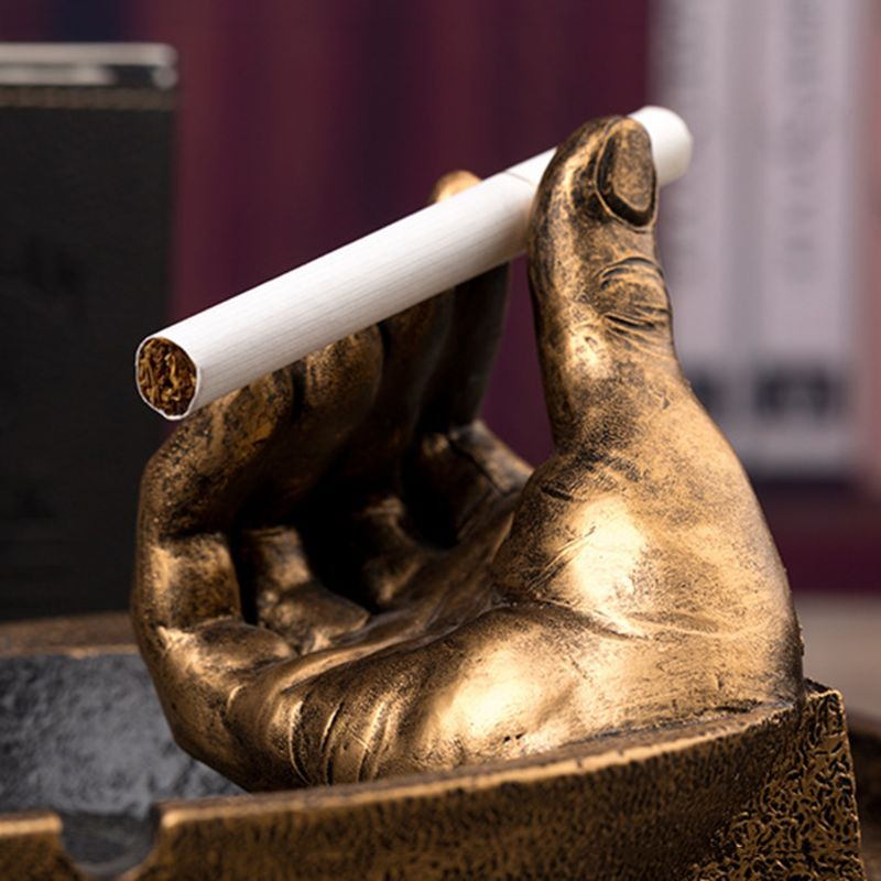Hand Shaped Ashtray Creative Smoking Pipe Ashtray with Hand Personality Resin Ash Tray Cigarette Holder Phone Bracket Home Decor