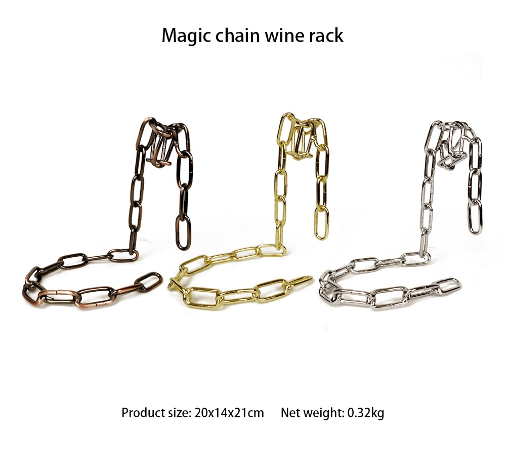 Magic Suspension Iron Chain Wine Rack Metal Chain Hanging Wine Bottle Holder Bar Cabinet Display Stand Shelf Bracket Home Decor