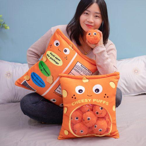 Soft Plush Cheese Puffs Pillow