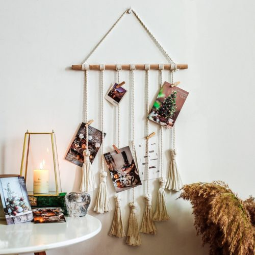 Macrame Photo Display with 20 Clips