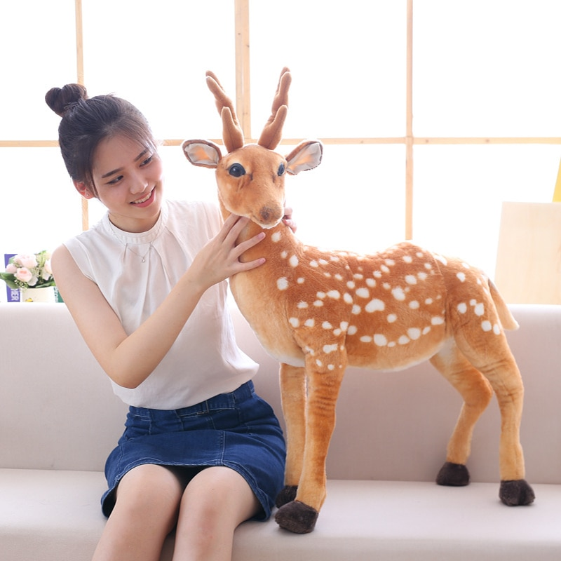 50/60/75/90cm Stuffed Plush Animal Deer Toy Kids Doll Teaching Prop Toy Children's Birthday Gift Simulation Sika Deer Plush Toy
