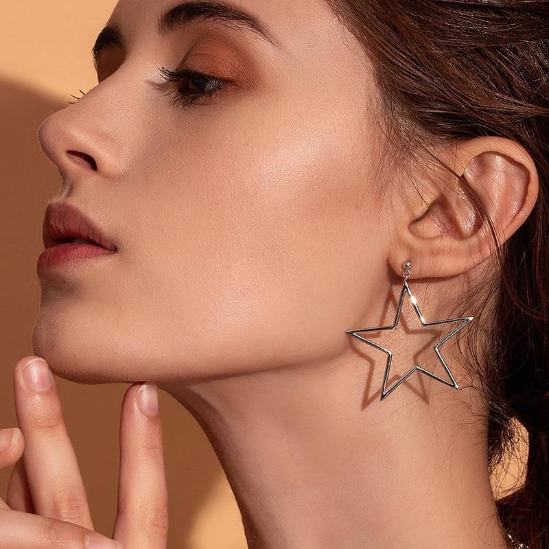 Silver Star Earrings for Women