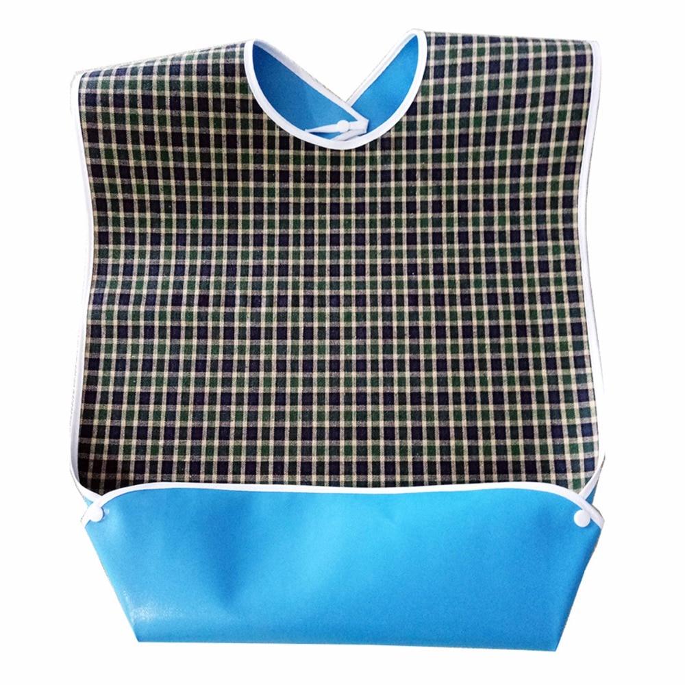 3pcs/set Waterproof Plaid Crumb Catcher Adult Bib Apron Reusable Clothes Protector Prevent Oil Juice Spill Elder Disability Wear